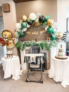 1 Year Birthday Party Ideas, Animal Themed Birthday Party, Baby Boy 1st Birthday Party, First Birthday Party Decorations, Birthday Themes For Boys, First Birthday Parties, First Birthdays, Balloon Arch, Balloon Garland