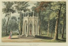 Temples and follys were all the rage during the Romantic era. Gothic Temple on the property of Eaton Hall - Country Seat of the Earl of Grosvenor from 1823, Ackermann's Country Seats.