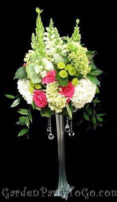 Flowers & Decor, white, pink, green, Centerpieces, Flowers, Centerpiece, Tall, Fuschia, Crystals, Gardenpartytogocom