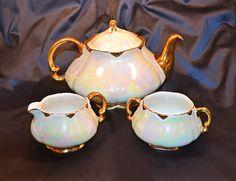 Your place to buy and sell all things handmade Tea Tins, Teacups, Sugar Bowl, Tea Set, Iridescent, Glaze, Amy, Pots, England