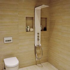 Hansgrohe Raindance Shower Panel in white and chrome. With thermostatic valve, head, handset and hose. Infrared Sauna, Shower Panels, Steam Showers Bathroom, White Paneling, Shower Heads, Modern Bathroom, Cool Kitchens, Chrome, Showers