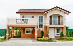 Gavina House and Lot for Sale in Camella Antipolo. Get Carmela Model House and Lot details: floor plan, turn-over, promo, discount and bank financing. Modern House Floor Plans, Colonial House Plans, Modern Exterior House Designs, Modern Bungalow House, My House Plans, Bungalow House Plans, House Arch Design, House Outside Design, Village House Design