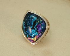 Adjustable Sterling Silver Dichroic Glass with Brass Ring by MarlasJewelry, $80.00