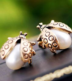 Gold Pearls Ladybug Stud Earrings
