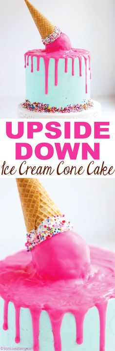 This Upside Down Ice Cream Cone Cake is a vanilla cake with buttercream frosting and what looks like an upside down ice cream cone melting on top. Get the recipe on MomLovesBaking.com! #birthdaycake #icecreamcone #drippingchocolate #cake #cakedecorating #sprinkles #cakeballs