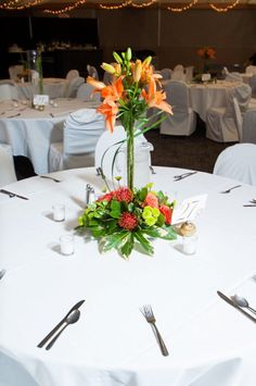 Orange Wedding Flowers Reception Table Setting