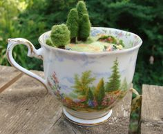 "Needle Felted Teacup  Pincushion   Green Tea by McBrideHouse, $50.00.....I want to own this!!added to my Bella"" wishlist:)"