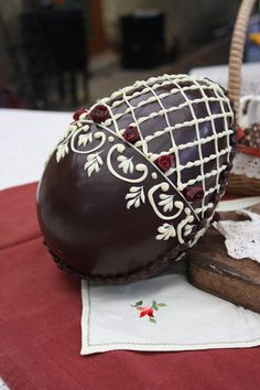 Items similar to Large Chocolate Easter Egg - hand decorated - dark and white chocolate on Etsy
