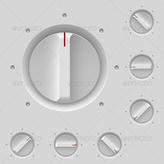 "UI elements - Knobs / switches - smooth and light ""Control Panel - Web Elements Vectors"". Perfect for Audio sampler instrument or vst plugin design! Web Design, App Ui Design, Interface Design, User Interface, Icon Design, Graphic Design, Ui Elements, Design Elements, Braun Dieter Rams"