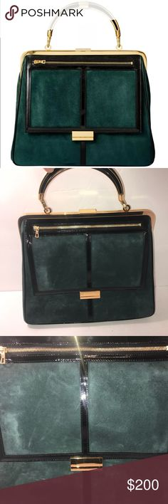 BALMAIN andh&m SUEDE emerald greengold handbag NEW BALMAIN and h&m SUEDE emerald green gold handbag purse BRAND NEW SOLD OUT!! FAST SHIP! Gorgeous! Metal latch has a few scratches but not noticeable Balmain Bags Shoulder Bags