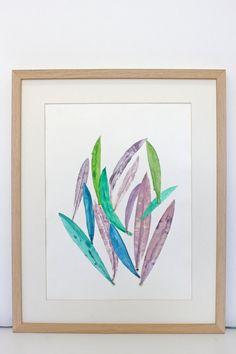 Lámina Grabado experimental de hojas naturales técnica por MariaPascualArt en Etsy Experimental, Natural, Printmaking, Mixed Media, Leaves, Watercolor, Etsy, Handmade Gifts, Hand Made