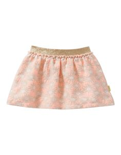 Skirt Sparkle. Special cotton-blend skirt with flower print with a subtle shimmer woven into the fabric. With a sparkling golden elastic waistband.