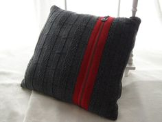 Recycled Sweater Cushion Cover Grey with Red Zipper