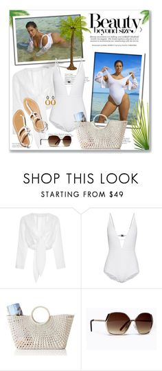 """""""Ashley Graham White Swimsuit"""" by leanne-mcclean ❤ liked on Polyvore featuring Lisa Marie Fernandez, Ashley Graham, Zimmermann, Mark & Graham and Chico's"""