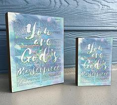 You are God's Masterpiece - Ephesians - Watercolor Vintage Bible verse Art Print on Wooden Block, Christian Home & Wall Decor Sign, Old Dictionary Page, Christmas gift Christian Gifts For Women, Christian Movies, Christian School, Christian Wall Art, Christian Life, Christian Quotes, Bible Verses For Girls, Encouraging Bible Verses, Bible Verse Art
