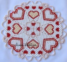 PDF pattern for beaded doily with hearts 18 cm, code LC Doily Patterns, Beading Patterns, Beading Ideas, Wiggly Crochet, Beaded Bracelet Patterns, Beaded Bracelets, Weaving Projects, Handmade Clothes, Bead Art