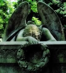 Angel of grief, a 1894 sculpture by William Wetmore Story which serves as the grave stone of the artist and his wife Emelyn at the Protestant Cemetery, Rome. Cemetery Angels, Cemetery Statues, Cemetery Art, Woodlawn Cemetery, Angeles, I Believe In Angels, Ange Demon, Angels Among Us, Mystique