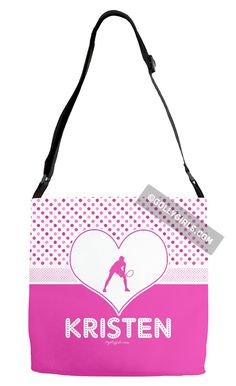 Golly Girls: Personalized Cute Simple Pink Polka-Dots Tennis Shoulder Tote Bag only at gollygirls.com