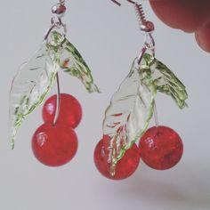 Handmade cherry cherry earrings cherry dangle by NewellsJewels