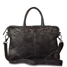 #FredsBruder, Business Extrem Handtasche Leder antrazit 42 cm