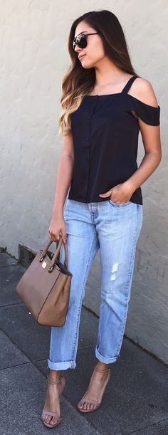 #spring #outfits  White Open Shoulder Top & Ripped Bleached Jeans & Nude Sandals