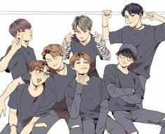BTS Fanart!! Beautiful work to the artist who made this because this is amazing!!!