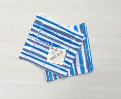 Set of 4 Linen Cocktail Coasters - hand painted - Cobalt Blue Stripes by asensiblehabit