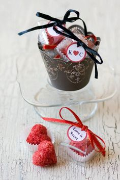 red heart shaped sugar cubes