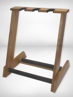 HANDCRAFTED folding 3 space White Pine or Red Oak guitar stands for electric or bass guitars