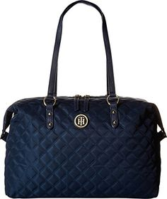 Tommy Hilfiger Womens TH Quilted  Weekender Navy Luggage *** You can find more details by visiting the image link. (Note:Amazon affiliate link)