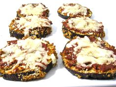 Skinny, Mini Eggplant Parmesan Pizzas. All the yummy flavors of Eggplant Parmesan made into these NEW little pizzas. So simple and really delicious. Each mini pizza has 76 calories, 3 grams of fat and 2 Weight Watchers POINTS PLUS. http://www.skinnykitchen.com/recipes/skinny-mini-eggplant-parmesan-pizzas/