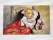 Adorable Kewpieville Kewpie Doll Postcard --Kewpie w/ Christmas Stocking Vintage Children's Books, Vintage Cards, Doll Drawing, Sonny Angel, Bisque Doll, Vintage Postcards, Paper Dolls, Retro, Vintage Christmas