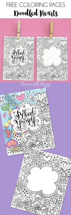 Doodled Hearts Free Coloring Pages. Add your own lettering or you the page with mine! | DawnNicoleDesigns.com
