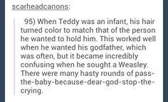 Harry Potter headcannon. Baby Teddy, aww!!!