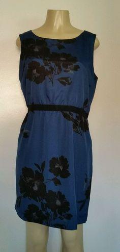 EUC Ann Taylor Loft Ladies Dress size Large Petite LP Blue Floral Lined Work…