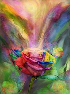 Browse through images in Carol Cavalaris' Rainbow Art Collection collection. A collection of art featuring a rainbow or rainbow colors, by Carol Cavalaris. Rainbow Roses, Rainbow Art, Rainbow Butterfly, Rainbow Colours, Butterfly Art, Fantasy Kunst, Fantasy Art, Fine Art Amerika, Illustration Blume