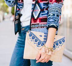 Sydne Summer wearing Stella & Dot embroidered straw clutch