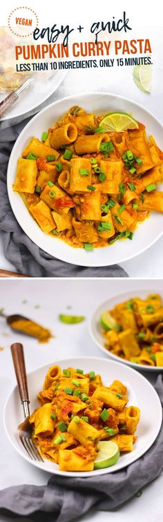 This Vegan Pumpkin Curry Pasta uses less than 10 ingredients and comes together in 15 minutes. Easy. Quick. Creamy. Cozy. Warm. Flavorful. #vegan Gluten-Free Option.