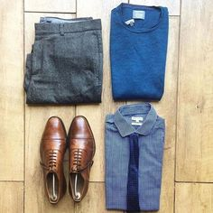 "Awesome grid by @thenortherngent  Loving the blues used in this outfit with the grey dress pants and brown dress shoes!  Remember to use code ""VOTREND"" to get 30% off your purchase at ➡️➡️ www.wolfandman.us   #menfashion #menstyle #menwear #menswear #men #style #trend #clothing #springwear #springclothes #spring #outfit #outfits #outfitgrid #denim #colors #boots #bluepants #blogger #fashion #fashionstyle #fashionmen #dapper #wolfandman"