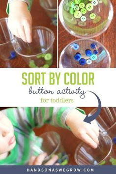 Easy, no-prep activity you can do at home to teach kids colors using supplies you already have. Works fine motor skills at the same time! #toddleractivities Gross Motor Activities, Outdoor Activities For Kids, Sorting Activities, Creative Activities, Hands On Activities, Learning Activities, Preschool Activities, Toddler Preschool, Toddler Crafts