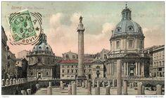 Roma Sparita - Foro Traiano - Sullo sfondo la chiesa del Santissimo nome di Maria, a destra, e Santa Maria di Loreto, a sinistra