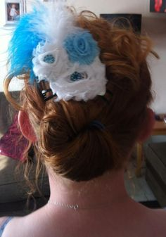 fancy flowers and feathers bow/clip I made for my georgie xx