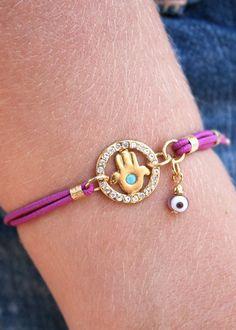 Hamsa with Swarovski Circle Charm Elastic Bracelet
