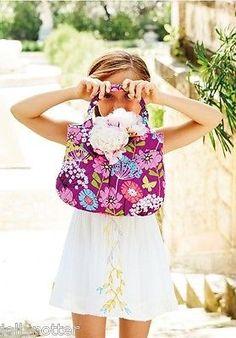 Vera Bradley Girls Mini Tote Flutterby Purse Pleated Shoulder Bag Butterfly $48