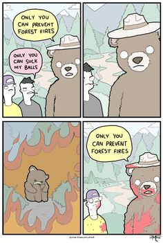 Smokey the bear...well, guess he's kinda cute in a i really mean it sorta way. I mean he's got a good point. By Monday Morning Randomness