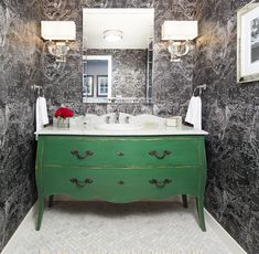 DIY instructions Taking a cue from reader remodels, we decided to retrofit a charming old bureau for a whole new purpose Diy Bathroom Decor, Small Bathroom, Bathroom Ideas, Downstairs Bathroom, Bathrooms, Airstream Interior, Walk In Shower Designs, Bath Remodel, Home Renovation