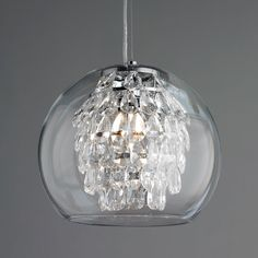 Glass Globe and Crystal Pendant Light polished_nickel