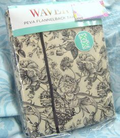 Waverly Table Cloth With Black Toile Roses On Ivory