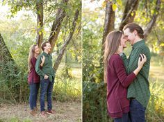 A romantic fall engagement session at Mathew's Manor in Springville, Alabama. Sweet engagement session pictures in a field. Birmingham, Alabama wedding photographers. How to wear fall colors for your engagement session.