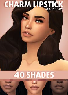 "crypticsim: "" CHARM LIPSTICK This is a nude matte lipstick that comes in 40 shades. There's a nude lip for every skin tone! • base game compatible • custom catalog thumbnail • do NOT claim as your own/reupload • please tag me if you use this, I'd..."
